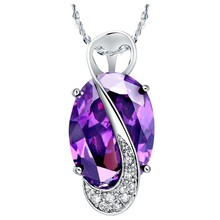 40% off Kolye 2016 Crystal Necklace Large Stones New Arrivals Jewelry Pendant Female Purple Necklace C005(China)
