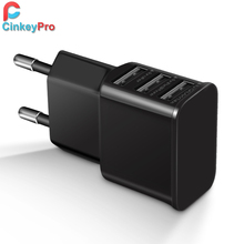 CinkeyPro EU Plug 3 Ports Multiple Wall USB Charger 5V 2A Smart Adapter Mobile Phone Charging Data Device For iPhone iPad