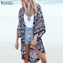 Buy S-6XL Women Summer Blouse 2018 Fashion Floral Printed 3/4 Sleeve Casual Beach Boho Kimono Cardigan Long Blusas Tops Cover for $7.21 in AliExpress store