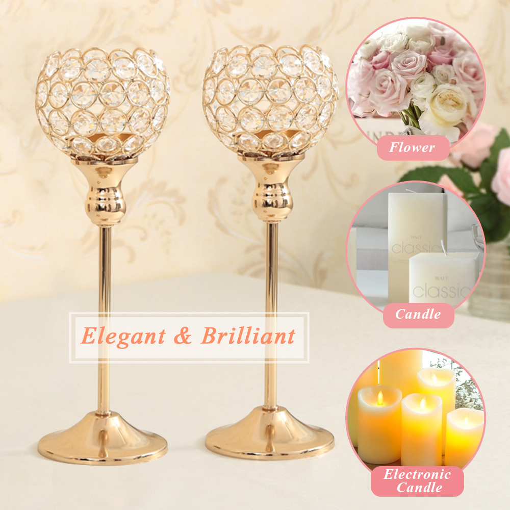 Metal Crystal Bowl Candle Lanterns Holders Moroccan Candlesticks For ...