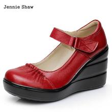 Women's Soft genuine cow leather red blue brown black platform wedges female small size single shoes(China)