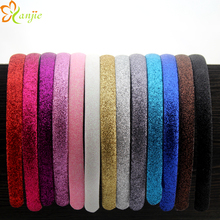 60pcs/lot Glitter Hair Clasp Headband For Girls And Women Satin Plastic Non-slip Glitter Hair Band Head Hoop Hair Accesssories(China)