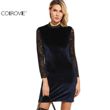 COLROVIE Bodycon Velvet Club Dress Woman Party Dresses Cut Out Back Elegant Evening Navy Contrast Lace Long Sleeve Mini Dress
