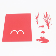 DIY Frog Pond Scene Frame Stitches Cutting Dies Carbon Steel Stencils For DIY Scrapbooking Paper Card Embossing Album Craft(China)