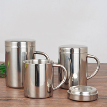 Coffee-Mug Tea-Cups Travel-Tumbler Office Stainless-Steel Double-Wall Milk with Lid