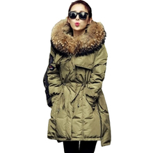 2017 Fur Winter Jacket Women White Duck Parka Jackets Natural Raccoon Fur Collar Female Winter Coat Women Parkas B745
