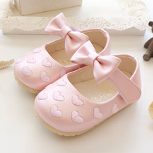 Free shipping Baby shoes Autumn love embroidered bow princess Baby leather 0 - 1 - 2 years old baby soft outsole toddler shoes