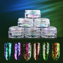 1 Box 0.2g Transparent Chameleon Flakes Multichrome Nail Powder Shimmer Nail Art Glitter Dust Galaxy Glitter Pigment