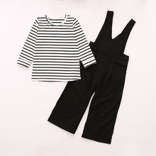 girls clothes set 2017 new spring kids fashion modern striped V collar strap wide leg overall pants suit girls trendy clothing
