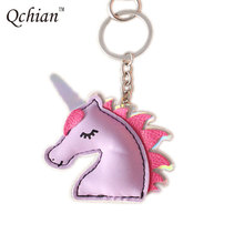 Unicorn Keychain Metal Key Chains Ring Cover Holder Handbag Shoulder Bag Charms Love Horse Toy Trinket Chaveiro Liaveros Leather