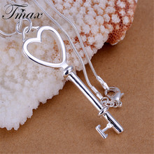 New Design Hot Marketing Heart-shaped Key Pendants Silver Plated Romantic Trendy Style Jewelry Accessories for Women HFNE0817(China)