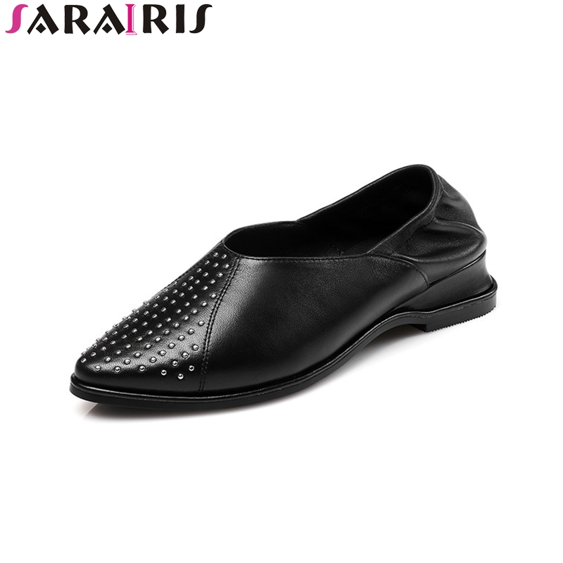 SARAIRIS 2018 Summer genuine leather rivet flat punk loafers shallow lady casual shoes size 34-39<br>