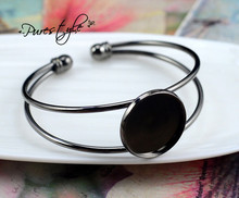 High Quality  20mm Gun Black Plated Bangle Base Bracelet Blank Findings Tray Bezel Setting Cabochon Cameo (L1-08)