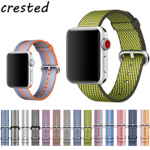 CRESTED Sport woven nylon band strap for apple watch 42 mm/38 wrist braclet belt fabric-like nylon band for iwatch 3/2/1/Edition(China)