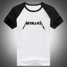 Music Metallica Letter Print Raglan Short Sleeve T shirt Male Tshirt Men Tee Shirts Anime Comics Hip Hop Palace Wolf Summer