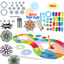 Spirograph Drawin toy set 22/30PCS Accessories with 3 pens,Creative Spiral Designs Painting Learning Educational toys for kids(China)