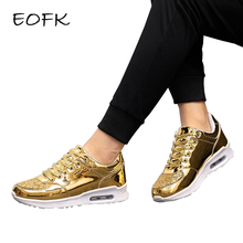 EOFK 2017 Fashion New Women Crystal Patent Leather With Glitter Causal Shoes Brand Design Lace Up Flats golden Shoes(China)