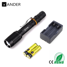 2017 Vander Mini Penlight 2000LM Waterproof LED Flashlight Torch 5 Modes Aluminium Lantern Portable Light use 18650 US Charger
