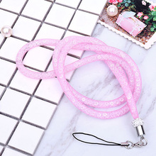 Top Crystal Neck Necklace Strap Lanyard U Disk ID Work Card Mobile Cell Phone Chain Straps Keychain phone Hang Rope