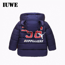 2017 New Baby Boy Winter Jacket  Toddler Horn Cap Infant Boys Parka 56 Sport Print 3 4 5 6T Size Children Thick Kid Boys Clothes