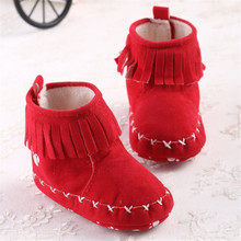 wholesale Soft Bottom Tassel Baby Girls Princess Shoes Warm Winter Baby Newborn Toddler Boots Kids Bebe Footwear 11-13cm