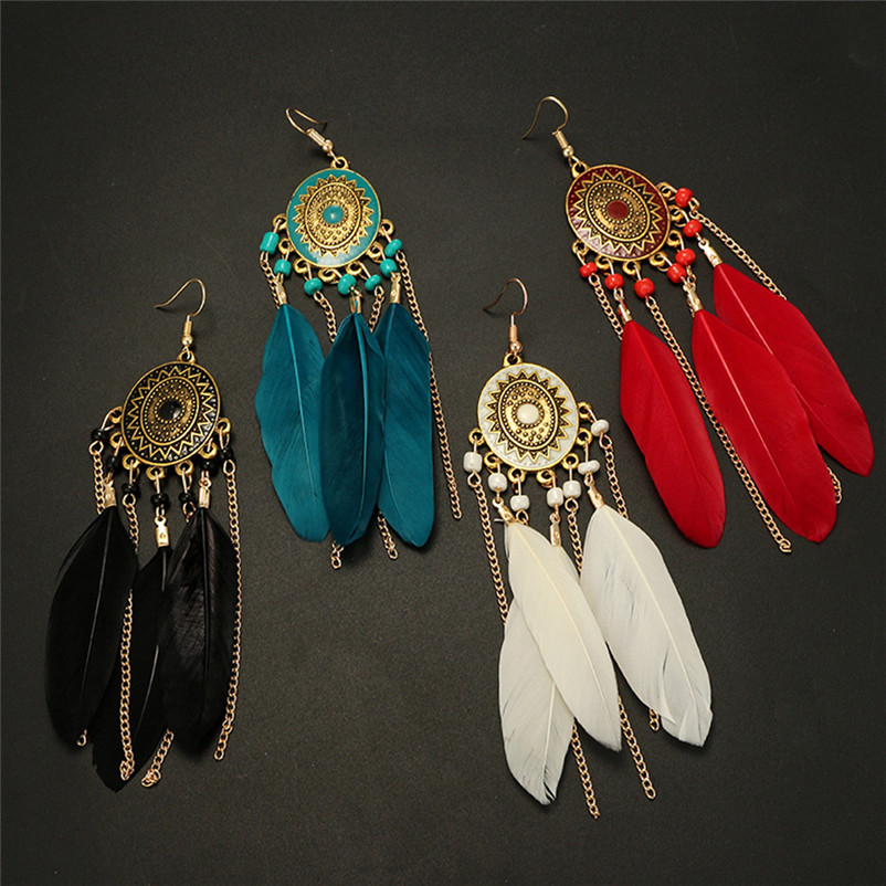 2018 Trendry Earrings for Women Vintage Women Bohemian Fashion Weave Tassel Earrings Long Drop Earrings Jewelry Brincos J05#N (3)