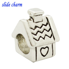 slide charm Free shipping New European fashion love black and white cottages small accessories charm beads fit Pandora bracelet(China)