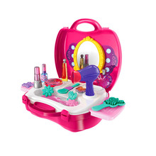 Pink Pretend Play House Makeup Tool Cosmetic Kit Playset Pretend Role Play Classic Simulation Toy Gift For Children Kids Girls(China)