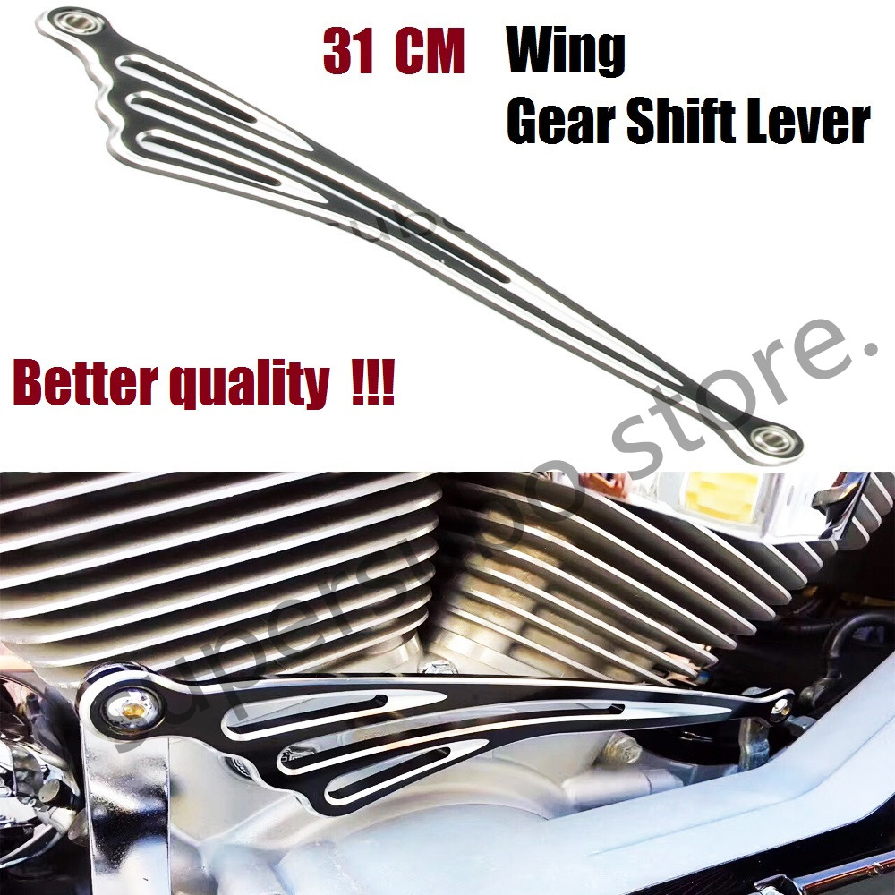 Good Quality Motorcycle Black And Chrome Wing CNC Gear Shift Lever Shift Linkage 31CM Fir For Harley Road King<br>