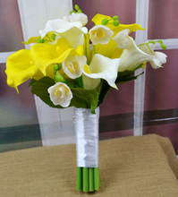 Wedding Bride Bouquet Holding Flower Bridal Bridesmaid Bouquets Yellow White Artificial Calla Lily Flower Home Decorative Flower(China)