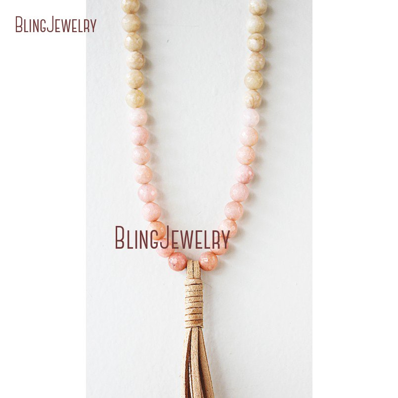 Organic Elegance Necklace Bohemian Beach Jewelry Riverstone  Beads Tassel Necklace NM20827