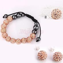 fashion peach crystal ball shamballa jewelry set bracele/earrings/necklace/pendent wholesale price