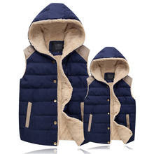 NEW Cotton Vest Women Waistcoat Winter Men And Women Lovers Hooded Vest Fleece Jackets Chalecos Mujer Sleeveless Cardigan C2255(China)