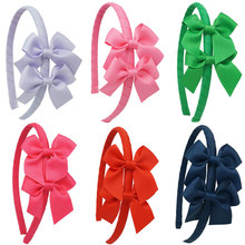 New Design Girls Headbands Bow Ribbon Solid Flower Hairband For Baby Kids Children Girls Hair Bands Accessory Drop Shipping 6Pcs()