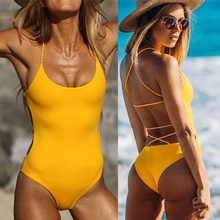 Buy Yellow Swimsuit New Sexy Backless One Piece Swimsuit Women Padded Swimwear Bandage Solid Bikini Bathing Suit Monokini Swim Wear