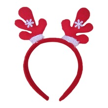Christmas Headband Antlers Ear Hair Hoop with Flowers Christmas Party Hair Accessories Deer Hair Buckle Decoration 2017 New(China)