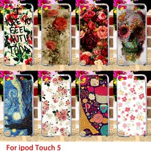 Soft TPU Cases For Apple iPod Touch 5 5th 5G touch5 Case Flowers Patterns Hard Cell Phone Cover Housings Bag Sheaths Skins Hoods
