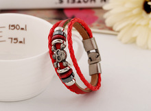 PK0409 Mix Color Stock Multi-layer Beads landing 2015 latest charm leather bracelet for men and women