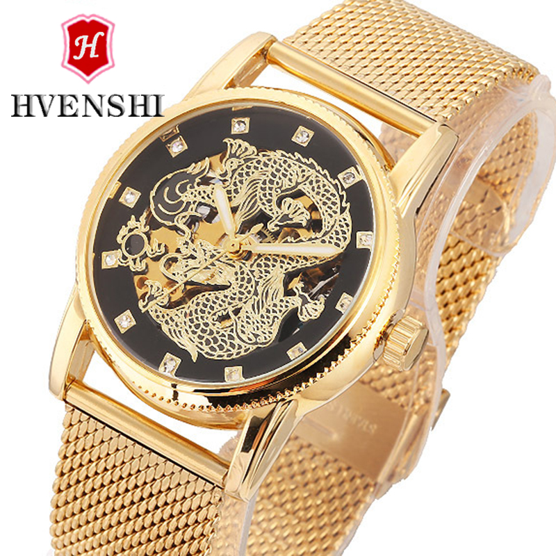 relogio masculino HVENSHI China Dragon Relief Auto Mens Mechanical Watch, Steel Luminous Business 50M Waterproof Watch<br>