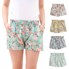 Summer Fashion European Style Floral Cotton Female Shorts For Women Plus Size Casual High Waist 2015 Ladies Short Pants Girl D07