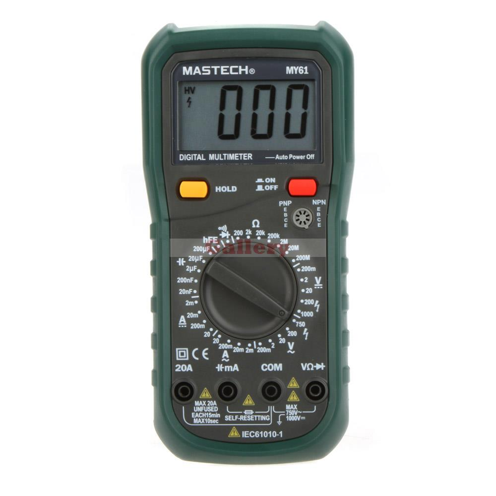 MY61 DMM Digital Multimeter AC/DC Ammeter Voltmeter Ohmmeter Professional w/Capacitance &amp; hFE Test Testers Meters<br><br>Aliexpress