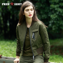 Autumn Fashion Bomber Jacket Women 2017 Military Army Green Short Coat Female Pilot Jacket Casual Slim Women's Outerwear Gs-8797(China)
