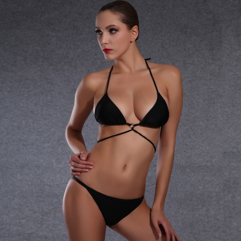 Womens Sexy Brazilian Bikini Mini Black Bandage Swimming Suit for Women Strappy Padded Halter Swimwear Beachwear Bather Biquini<br><br>Aliexpress
