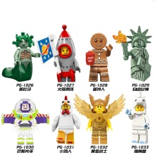 8pcs/lot Unicorn Girl Rocket Boy Gingerbread Man Chicken Suit Action Figures Building Blocks Toys for Children PG8061