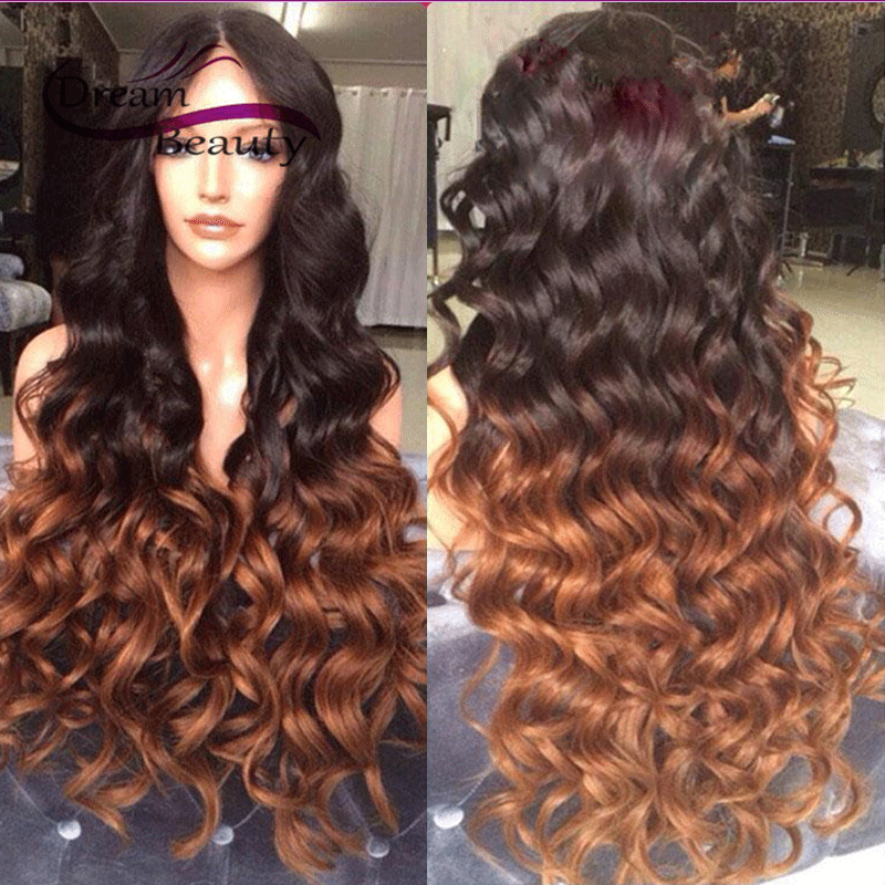 T1b/33 Two Tone Ombre Wavy Full Lace Wigs Coloured Lace Front Human Hair Wigs Glueless Brazilian Hair Lace Wig Free Shipping<br><br>Aliexpress