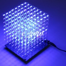 8x8x8 3D LED LightSquared DIY Kit White LED Blue Ray 3mm LED Cube Electronic Suite 5V power supply