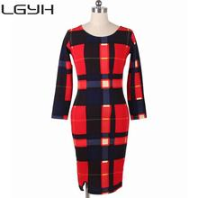 2016 6XL Office Dress Wear to Work Hip Plaid Plus size Women Clothing Prom Office Dress Sexy Dresses Party Night Club vestido(China)
