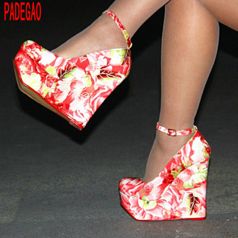 PADEGAO  Women Shoes 2017 High Heels multi color  Normal Size flower  Shoes Party Wedding Shoes 14.5 cm slope with round shoes<br><br>Aliexpress