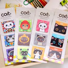 3 Pcs/Card, Cartoon Cute Kawaii Lovely Magnetic Cat Fashion Paper Clips Gift Bookmark School Office Supplies Student Stationery(China)