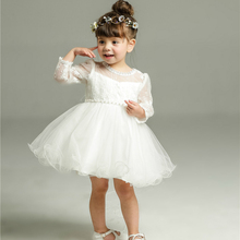 White Baby Long Sleeve Birthday Wedding Dress Toddler Girl Baptism Dress Baby Girl 1 Year Dresses for Girls Kids Party(China)